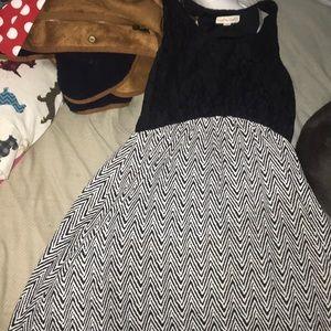 Black and white lacy chevron dress